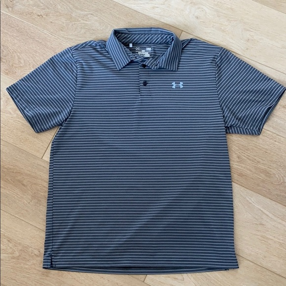 NWT UNDER ARMOUR MEN/'S COLD BLACK LOOSE FIT STRIPES POLO SHIRT-GREEN-XLARGE
